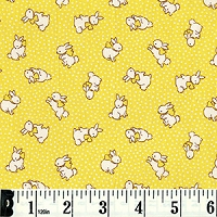 Retro 30's Child Smile Bunnies - Yellow