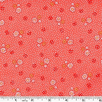 Old New 30's Tiny Daisies & Dots - Coral Pink