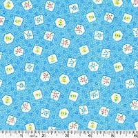 Retro 30's Child Smile Box Flowers - Blue
