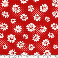 Retro 30's Child Smile Daisies & Dots - Red