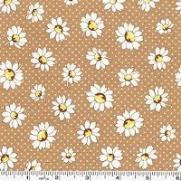 Retro 30's Child Smile Daisies & Dots - Brown