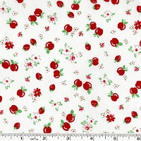 Retro 30's Child Smile Strawberries & Apples - Red on White
