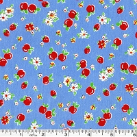 Retro 30's Child Smile Strawberries & Apples - Blue