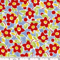 Retro 30's Child Smile Flower - Red
