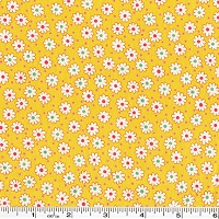 Retro 30's Child Smile Tiny Flowers & Dots - Yellow