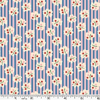 Spring Showers Bud Stripe - Blue/Pink