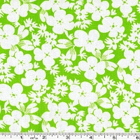 Feedsack Silhouette Flowers - Green