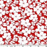 Feedsack Silhouette Flowers - Red