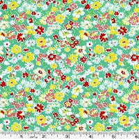 Toy Chest Florals Packed Flowers - Teal