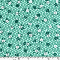 Toy Chest Florals Flowers & Triangles - Teal
