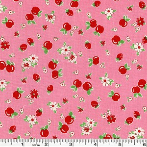 Retro 30's Child Smile Strawberries & Apples - Pink