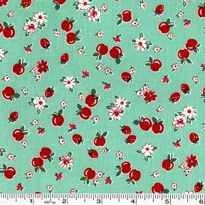 Retro 30's Child Smile Strawberries & Apples - Green
