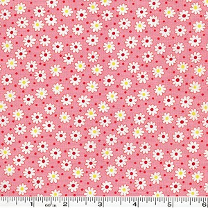 Retro 30's Child Smile Tiny Flowers & Dots - Pink
