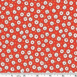 Retro 30's Child Smile Tiny Flowers & Dots - Red