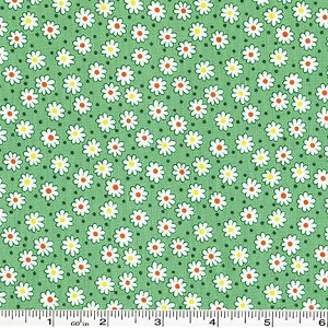 Retro 30's Child Smile Tiny Flowers & Dots - Green