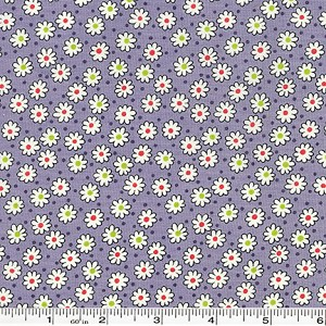 Retro 30's Child Smile Tiny Flowers & Dots - Grey