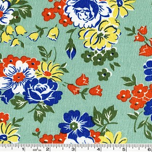 Fall Frolic Large Floral - Seafoam Green