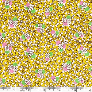Toy Chest Florals Pansies - Yellow