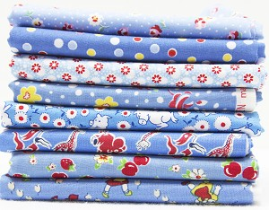1930's Reproduction Fabric Bundle - Blue with Red