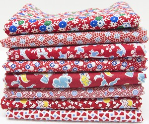 1930's Reproduction Fabric Bundle - Red with Blue